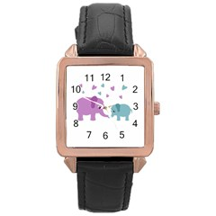 Elephant love Rose Gold Leather Watch
