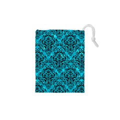Damask1 Black Marble & Turquoise Marble (r) Drawstring Pouch (xs)
