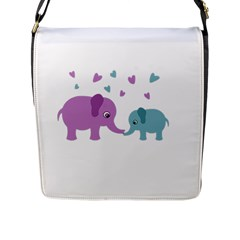 Elephant love Flap Messenger Bag (L)