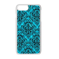 Damask1 Black Marble & Turquoise Marble (r) Apple Iphone 7 Plus White Seamless Case