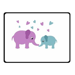 Elephant love Double Sided Fleece Blanket (Small)