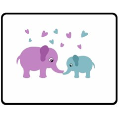 Elephant love Double Sided Fleece Blanket (Medium)