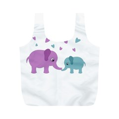 Elephant love Full Print Recycle Bags (M)