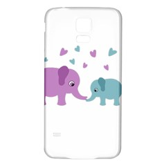 Elephant love Samsung Galaxy S5 Back Case (White)