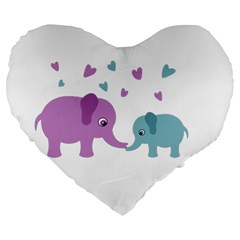Elephant love Large 19  Premium Flano Heart Shape Cushions