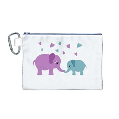Elephant love Canvas Cosmetic Bag (M)