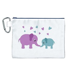 Elephant love Canvas Cosmetic Bag (L)
