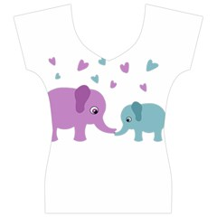 Elephant love Women s V-Neck Cap Sleeve Top