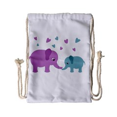 Elephant love Drawstring Bag (Small)