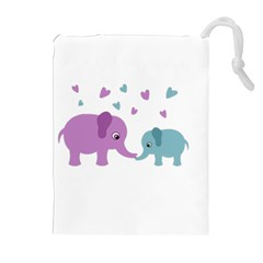Elephant love Drawstring Pouches (Extra Large)
