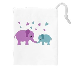 Elephant love Drawstring Pouches (XXL)