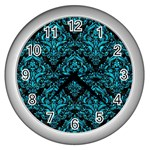 DAMASK1 BLACK MARBLE & TURQUOISE MARBLE Wall Clock (Silver) Front