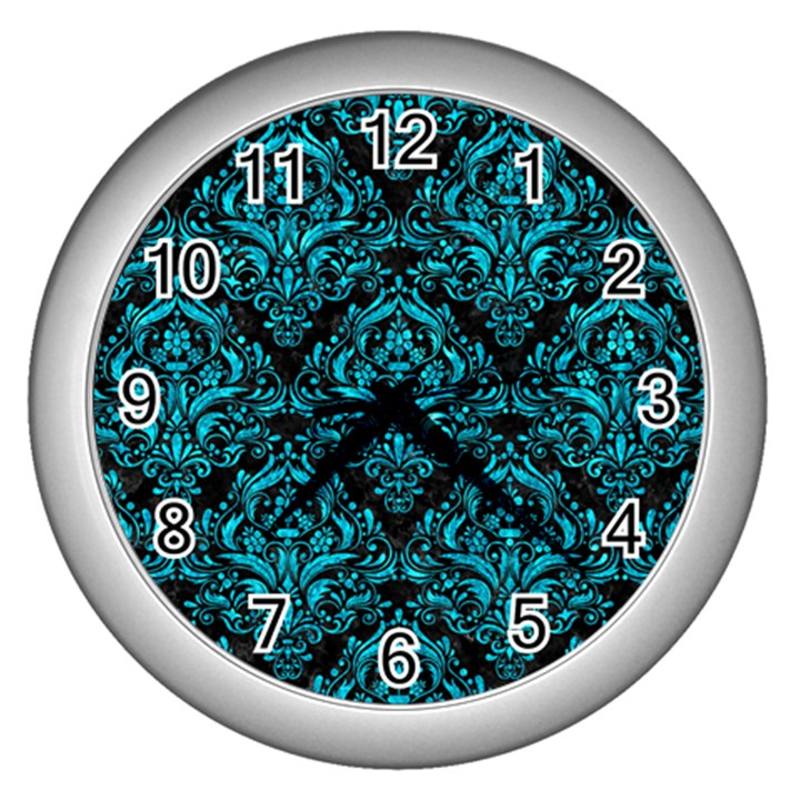DAMASK1 BLACK MARBLE & TURQUOISE MARBLE Wall Clock (Silver)