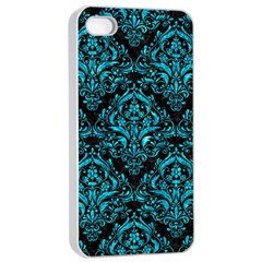 Damask1 Black Marble & Turquoise Marble Apple Iphone 4/4s Seamless Case (white)