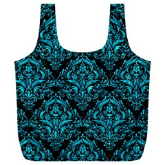 Damask1 Black Marble & Turquoise Marble Full Print Recycle Bag (xl)