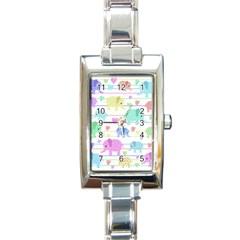 Elephant pastel pattern Rectangle Italian Charm Watch