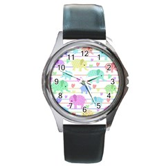 Elephant pastel pattern Round Metal Watch