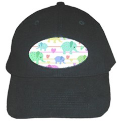 Elephant pastel pattern Black Cap
