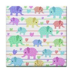 Elephant pastel pattern Tile Coasters