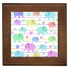 Elephant pastel pattern Framed Tiles