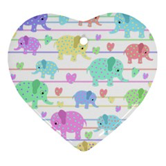 Elephant pastel pattern Ornament (Heart)
