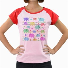 Elephant pastel pattern Women s Cap Sleeve T-Shirt