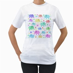 Elephant pastel pattern Women s T-Shirt (White) (Two Sided)