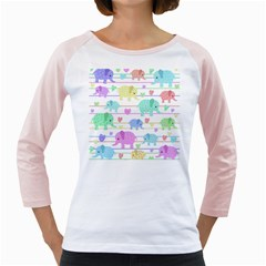 Elephant pastel pattern Girly Raglans