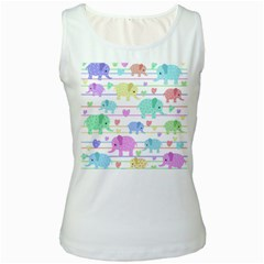 Elephant pastel pattern Women s White Tank Top