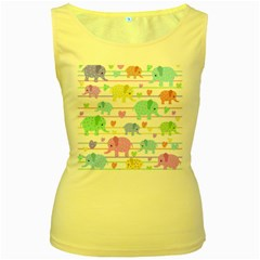 Elephant pastel pattern Women s Yellow Tank Top