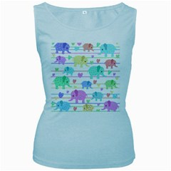 Elephant pastel pattern Women s Baby Blue Tank Top