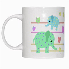 Elephant pastel pattern White Mugs