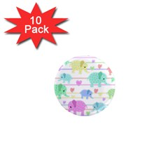 Elephant pastel pattern 1  Mini Magnet (10 pack)