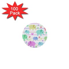 Elephant pastel pattern 1  Mini Buttons (100 pack)