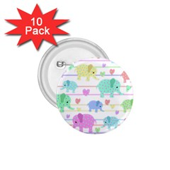 Elephant pastel pattern 1.75  Buttons (10 pack)