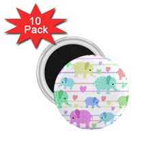 Elephant pastel pattern 1.75  Magnets (10 pack)