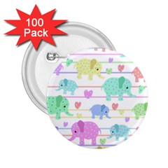 Elephant pastel pattern 2.25  Buttons (100 pack)