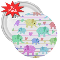 Elephant pastel pattern 3  Buttons (10 pack)