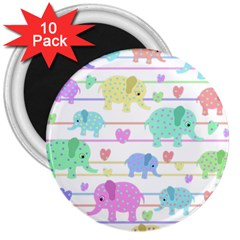 Elephant pastel pattern 3  Magnets (10 pack)