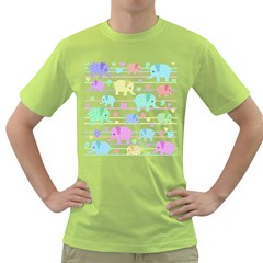 Elephant pastel pattern Green T-Shirt