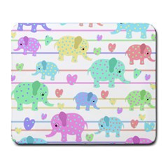 Elephant pastel pattern Large Mousepads