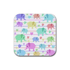 Elephant pastel pattern Rubber Square Coaster (4 pack)
