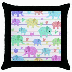 Elephant pastel pattern Throw Pillow Case (Black)