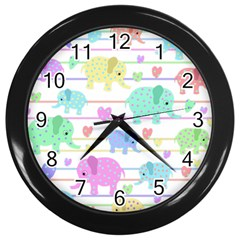 Elephant pastel pattern Wall Clocks (Black)