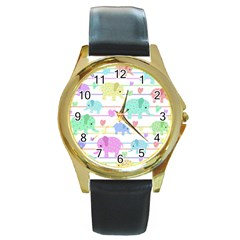 Elephant pastel pattern Round Gold Metal Watch