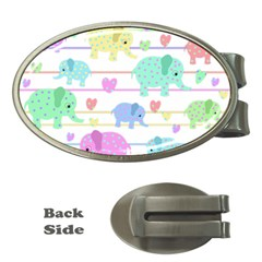 Elephant pastel pattern Money Clips (Oval)