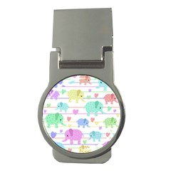 Elephant pastel pattern Money Clips (Round)