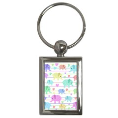 Elephant pastel pattern Key Chains (Rectangle)