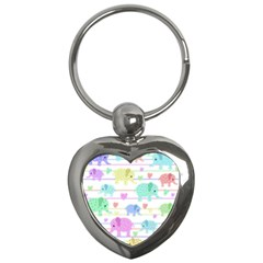 Elephant pastel pattern Key Chains (Heart)