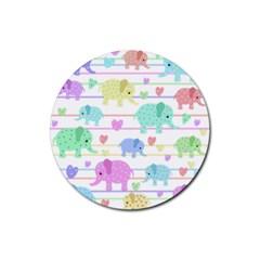 Elephant pastel pattern Rubber Coaster (Round)